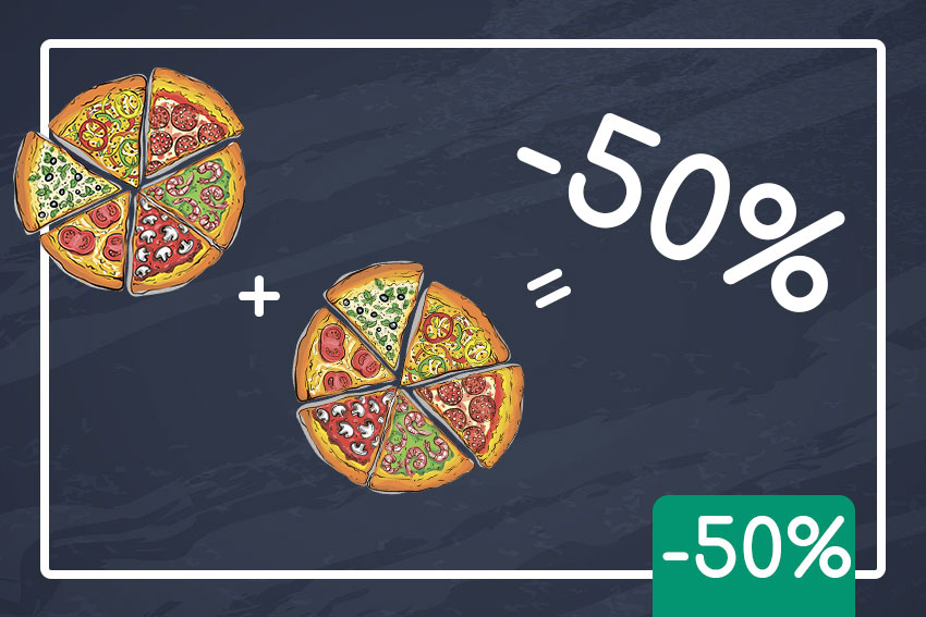 Щовівторка та щочетверга кожна друга піца -50%